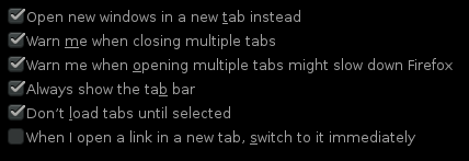 Options related to tabs in Firefox 17